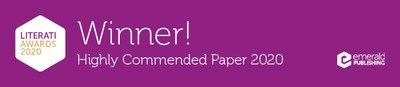 Winner Banner for Highly Commended Paper 2020
